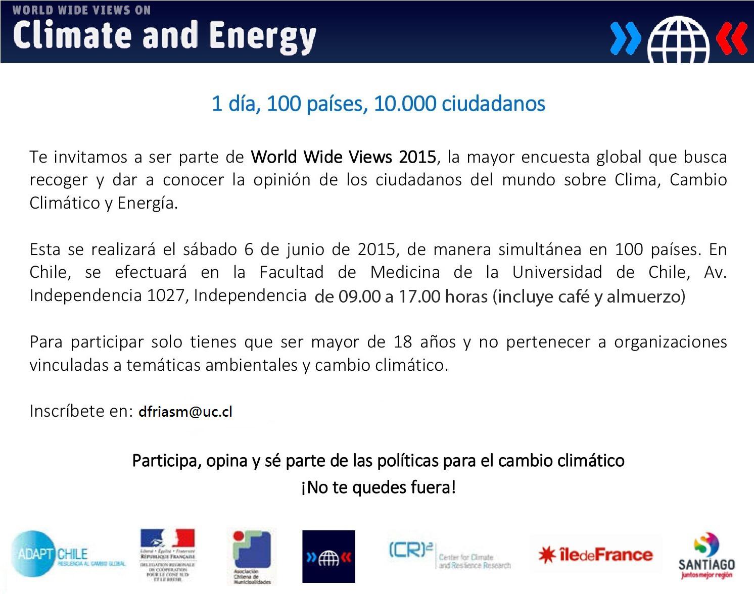 World Wide Views 2015: Chile será parte de la Mayor Consulta Ciudadana sobre Cambio Climático y Energía de la historia