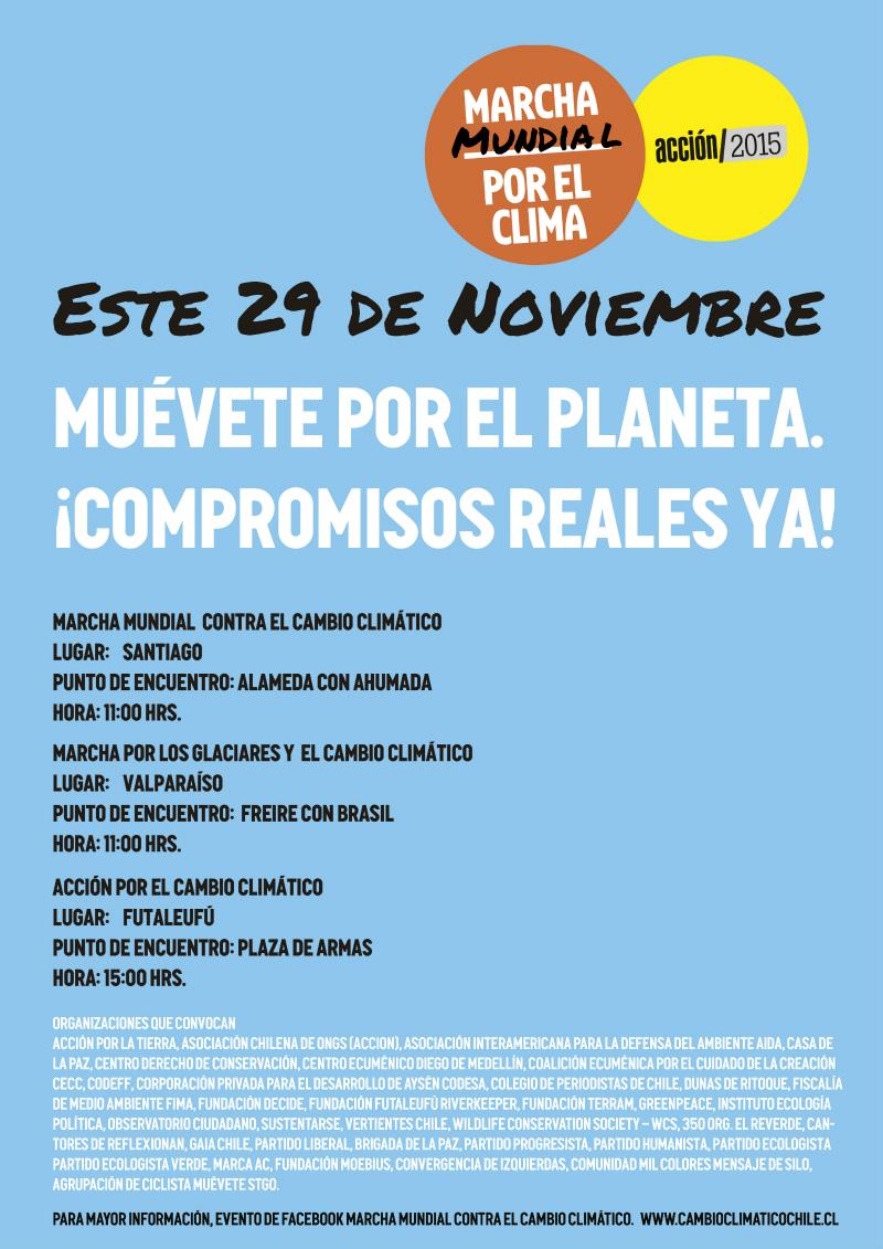 El 29 de noviembre Chile se sumará a la Marcha Mundial por el Clima con movilizaciones y actividades a lo largo del país